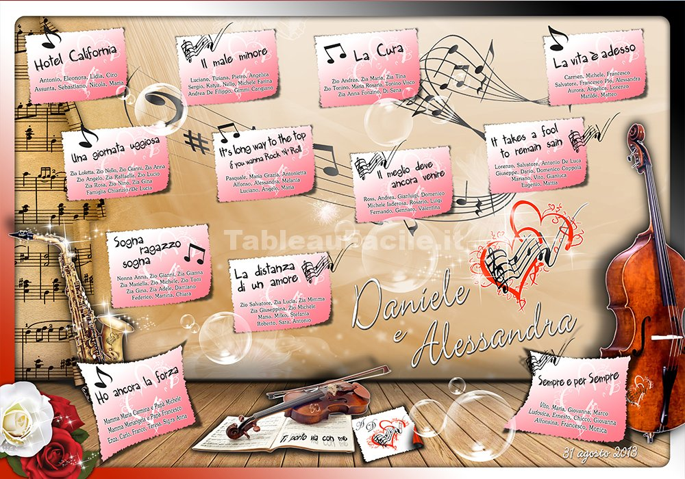 abbastanza Tableau Canzoni e Musica (#M001) - Tableau Matrimoniale Facile AM74