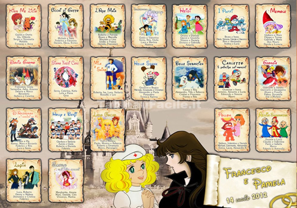 Tema cartoni animati per il tableau matrimoniale