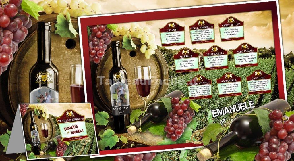 tableau matrimonio tema vino